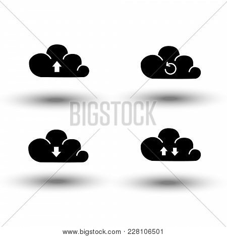 Set Of Cloud Icon Computing Concept Design, Upload, Download, Cloud Saving And Hosting, Black Vector