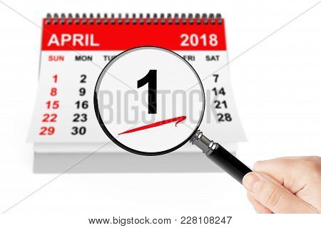Fools' Day Concept. 1 April 2018 Calendar With Magnifier