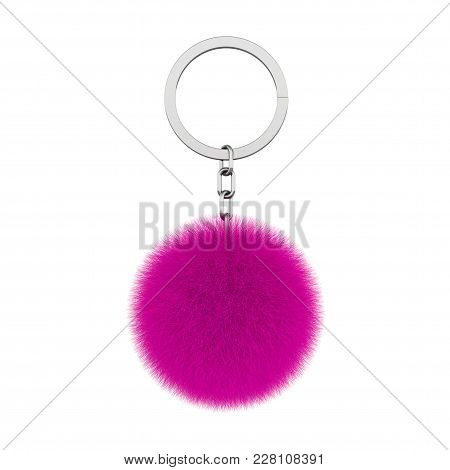Keychain With Magenta Fur Hair Ball On A White Background. 3d Rendering