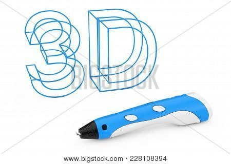 Technology Concept. 3d Printing Pen Near Plastic 3d Letters Sign On A White Background. 3d Rendering