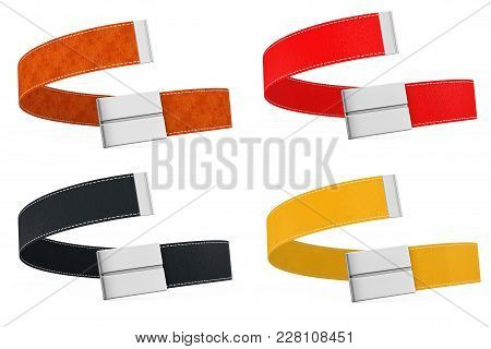 Colored Modern Leather Belts Icon On A White Background. 3d Rendering