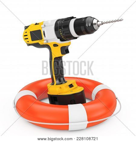 Yellow Rechargeable And Cordless Drill With Life Buoy On A White Background. 3d Rendering