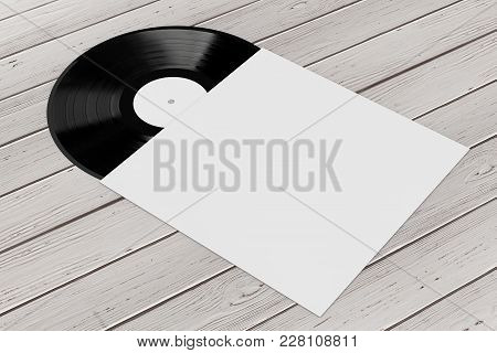 Old Vinyl Record Disk In Blank Paper Case With Free Space For Your Design On A Wooden Table. 3d Rend