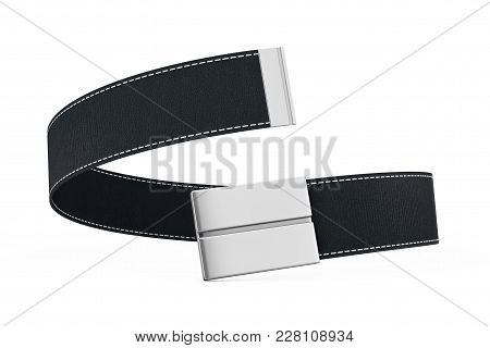 Black Modern Leather Belt Icon On A White Background. 3d Rendering