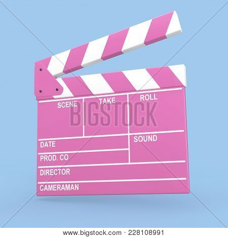 Cartoon Pink Cinema Movie Clapper Or Clapboard On A Blue Background. 3d Rendering