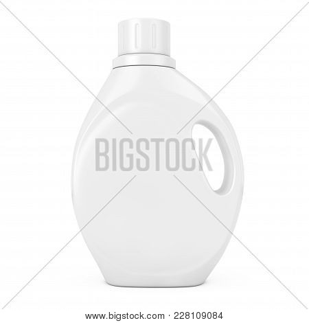 White Plastic Detergent Container Bottle With Blank Space For Yours Design On A White Background. 3d