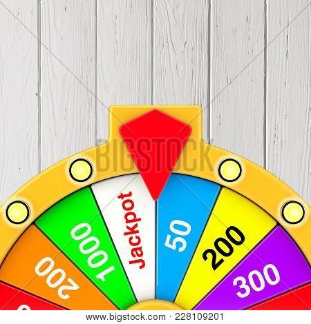 Luck And Fortune Concept. Spinning Colorful Fortune Wheel On A Wooden Background. 3d Rendering