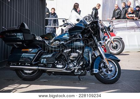 Minsk, Belarus - April 24, 2016 Hog. Harley Davidson Owners Group Seasonal Opening Show. Close-up Vi