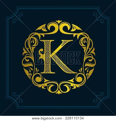 The Monogram A Letter K In An Elegant Frame. K Golden Template For Cafe Bars Boutiques Invitations.