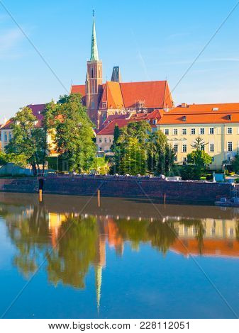 Cathedral Island, Ostrow Tumski, At Odra River. Old Town Of Wroclaw, Poland