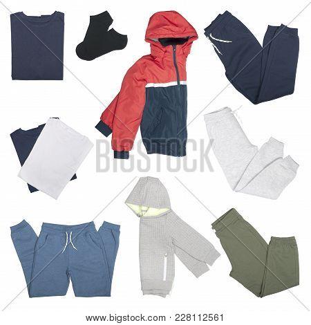 Set Of Clothes For A Boy On A White Background Season Spring-autumn