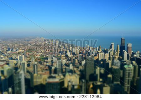 Tilt Shift, Miniature, Miniaturization Effect Of Chicago Skyline Buildings Architecture Looking Nort