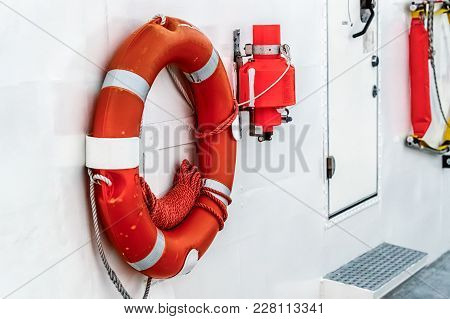 Lifebuoy Is Fixed On Hull Of A Ship. Side View.