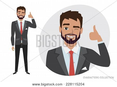 Positive Guy Smiling And Recommended. Happy Man In Casual Cloth. Laughing Man Showing Thumbs Up.