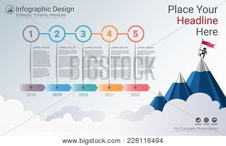 Milestone Timeline Infographic Design, Road Map Or Strategic Plan To Define Company Values, Can Be U