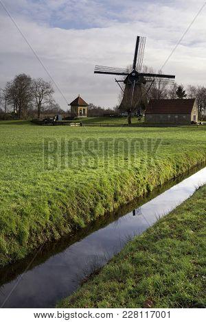 Windmill De Hersteller At Sintjohannesga In The Municipality De Friese Meren In The Province Of Frie