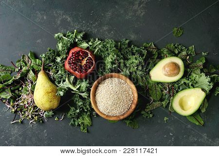 Green Salad And Fruits Mix For Salad With Kale, Young Beetroot Leaves, Sprouts, Pear, Avocado, Pomeg