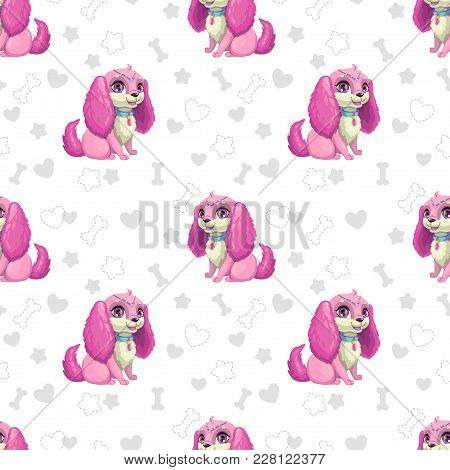 Seamless Pattern With Beautiful Cartoon Little Puppy Girl. Vector Girlish Texture.
