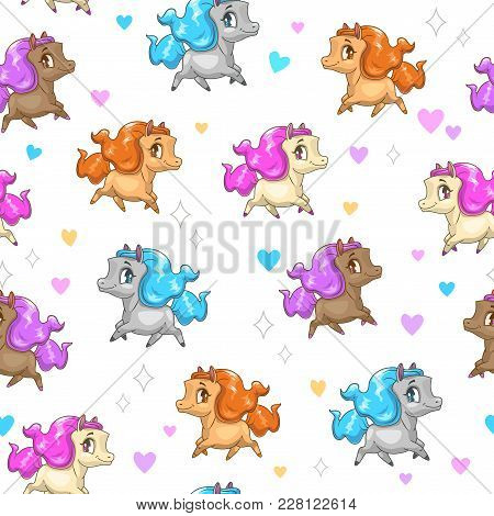 Seamless Pattern With Cute Cartoon Horses And Hearts On White Background. Funny Vector Girlish Textu