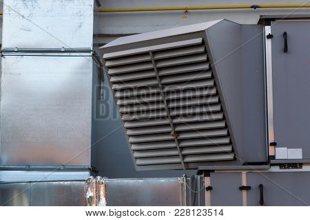 Close-up View Of The Ventilation Louvres Of The Industrial Ventilation Unit Standing Outdoor