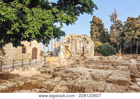 House Ruins In Rhodes Island On Sunny Day. Greece.