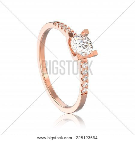 3d Illustration Isolated Rose Gold Engagement Round Cut Shape Ring With Diamond With Reflection On A