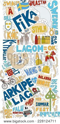 Stockholm In Doodle With Colorful Elements.good For Swedish Souvenirs.typical Swedish Words-sweden,