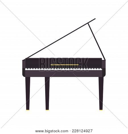 Piano Grand Vector Music Illustration Instrument Black Musical Isolated Classical White Icon. Key Co