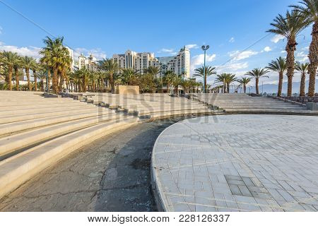 Eilat, Israel - February 22, 2018: Central Promenade And Entertainment  With Building The Biggest He