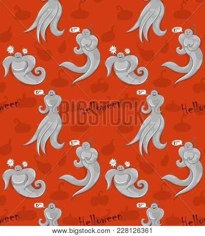 Seamless Pattern Of Cute Ghosts On Orange Background. Helloween Theme.