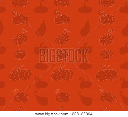 Seamless Pattern With Simple Pumpkins On Orange Background. Helloween Theme.