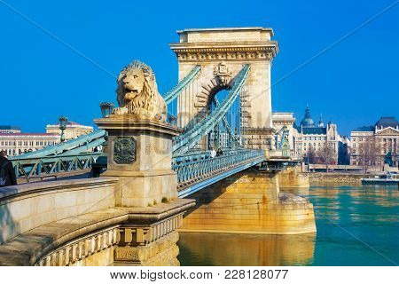 Closeup View Of The Historic Liberty Bridge Infrastructure Across Danube River In Budapest, Hungary