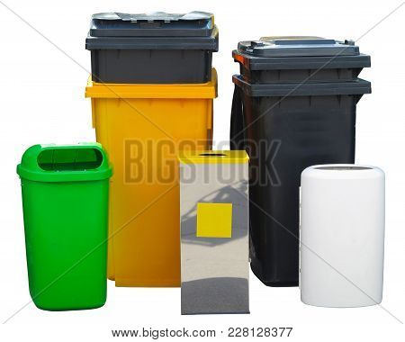 A  Lot Of Different Colorful Garbage Bin Containers Isolated Over White Background