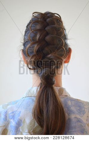 Openwork French Braid, Hairstyle With Medium Length Of Hair