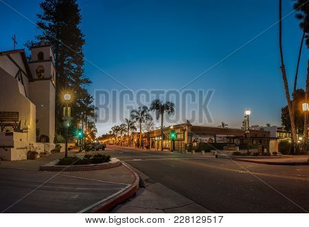 Gradient Morning Sky Behind Ventura Mission Looking Up Main Street Lights On February 24, 2018 In Ca