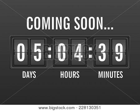 Flip Clock Countdown, Coming Soon Background. Vector Illustration.