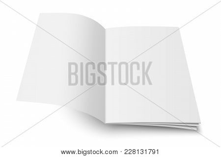 Vector Mock Up Of Book Or Magazine White Blank Cover Isolated. Flying Opened Vertical Magazine, Broc