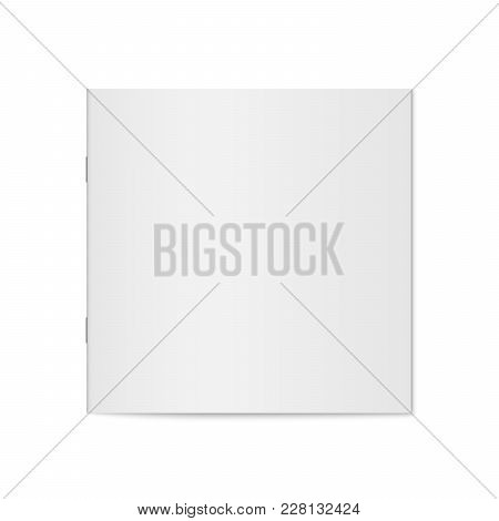 Vector Mockup Of Booklet Cover Isolated. Closed Square Magazine, Brochure Or Notebook Template On Wh