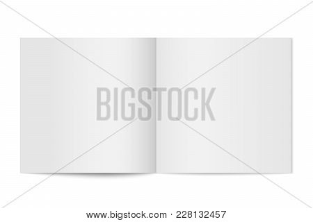 Vector Mockup Of Booklet Cover Isolated. Opened Square Magazine, Brochure Or Notebook Template On Wh