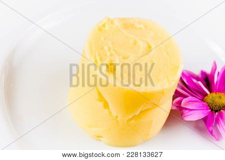Mashed Potatoes Decorated With Flower On White Plate