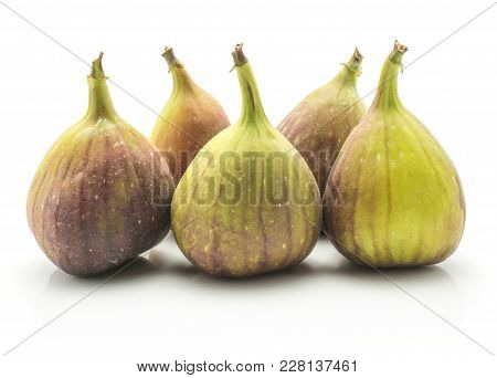 Five Fresh Figs Isolated On White Background Ripe Purple Green