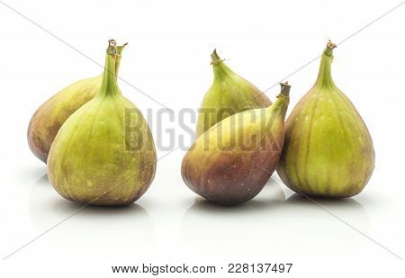 Five Figs Isolated On White Background Fresh Ripe Purple Green