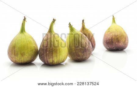 Five Figs Purple Green Isolated On White Background Fresh Ripe