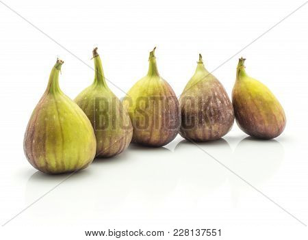 Five Figs In Row Ripe Purple Green Isolated On White Background Fresh