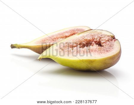 Two Fig Sliced Halves With Rose Flesh Isolated On White Background Ripe Fresh Purple Green