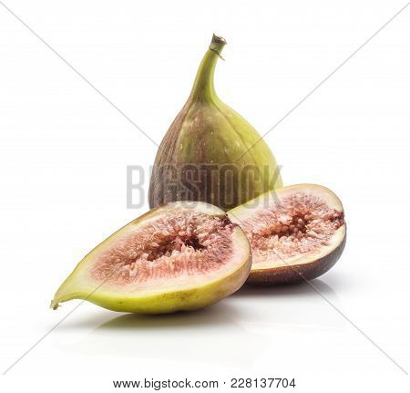 One Fig And Two Sliced Halves With Rose Flesh Isolated On White Background Ripe Fresh Purple Green