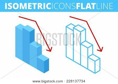 The Fall Graph. Isometric Flat And Outline Icon Set. Business Decrease, Decline, Recession Line Pict