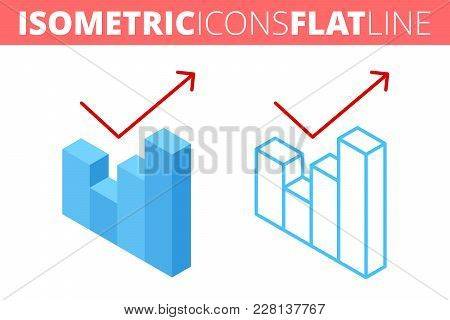 The Growth Graph. Isometric Flat And Outline Icon Set. The Business Grow, Increase, Improve Line Pic