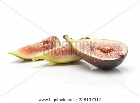 Sliced Figs Two Slices One Section Half Isolated On White Background Ripe Fresh Rose Flesh