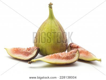 Fresh Figs Set Isolated On White Background One Purple Green Whole And Three Slices With Rose Flesh